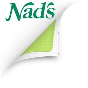 Hair removal strip folded back to reveal green gel on under side and Nad's Hair Removal logo