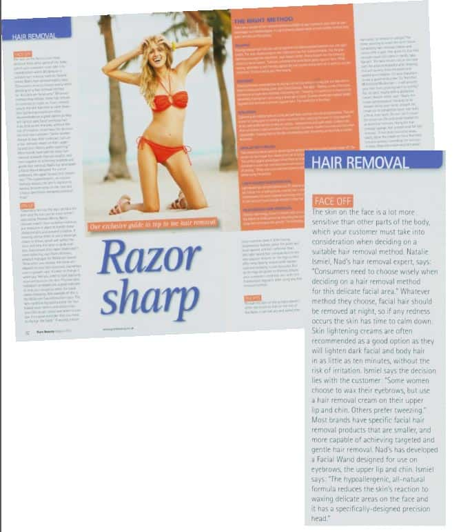 August 2012 UK Pure Beauty 'Razor Sharp' article on hair removal with woman in red bikini