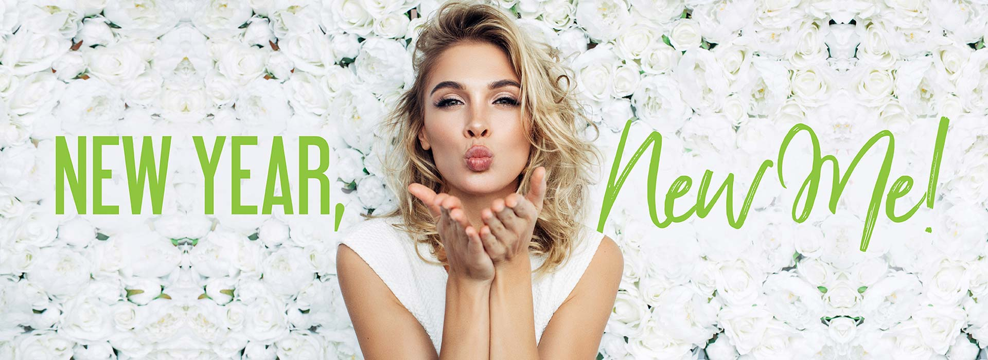 New Year, New Me! | Woman blowing kiss with both hands over white rose background