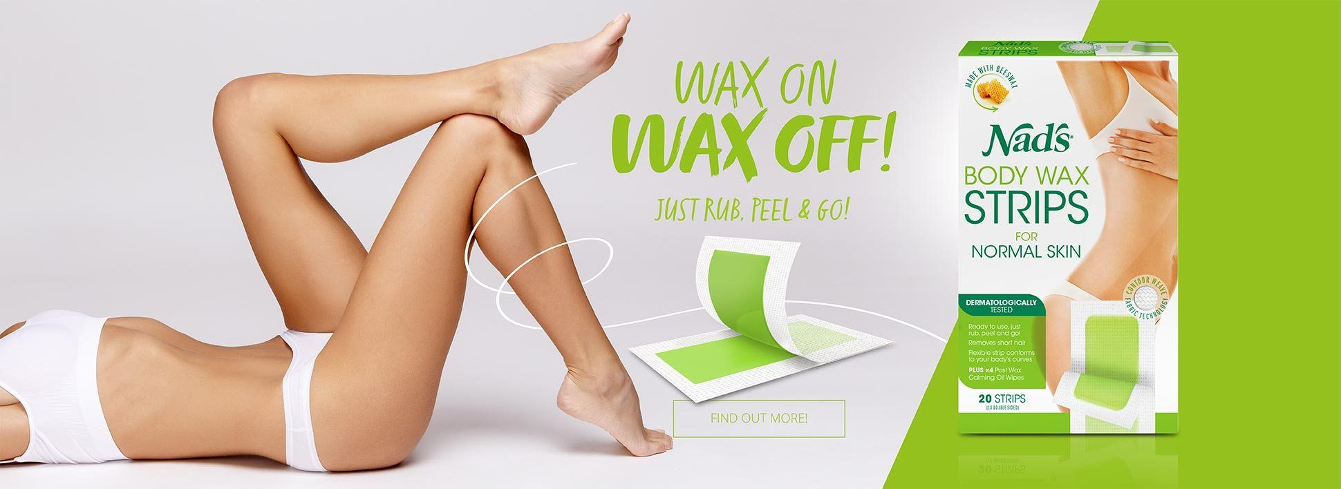 Nad's Natural Hair Removal Body Wax Strips | Wax On Wax Off - Just Rub peel and Go