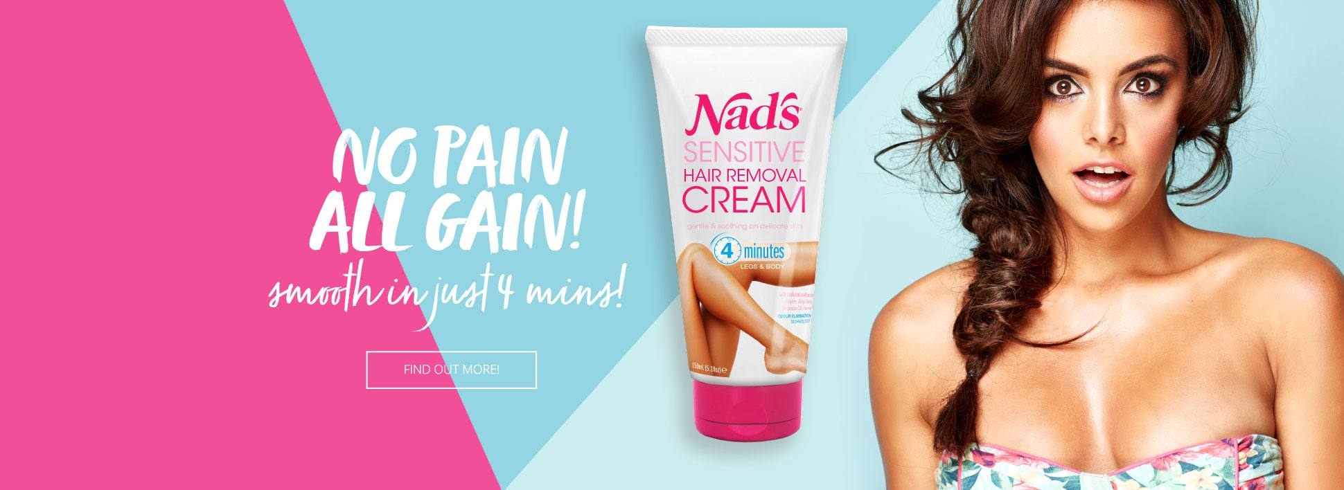 Nad's Sensitive Hair Removal Cream | No Pain All Gain