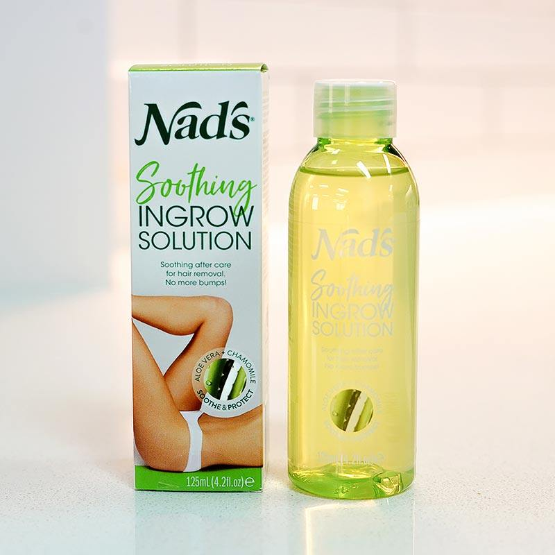 Nad's Soothing Ingrow Solution bottle next to packaging