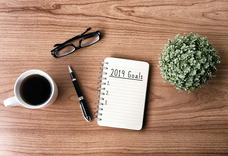 Wood table with coffee, black eye glasses, pen, plant and open notebook with '2019 Goals' written