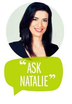 Natalie Ismiel profile in circle above 'ASK NATALIE' green speech bubble