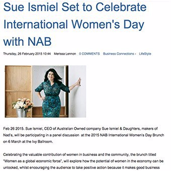 Sue Ismiel celebrates IWD2015 with NAB